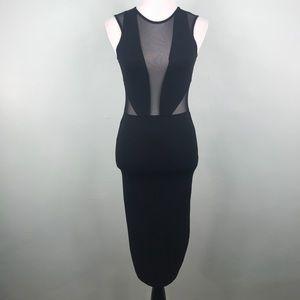 ASOS Black Mesh Panel Deep Plunge Body Con Dress